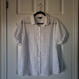 100% Cotton Short Balloon Sleeve Button-up Blouse